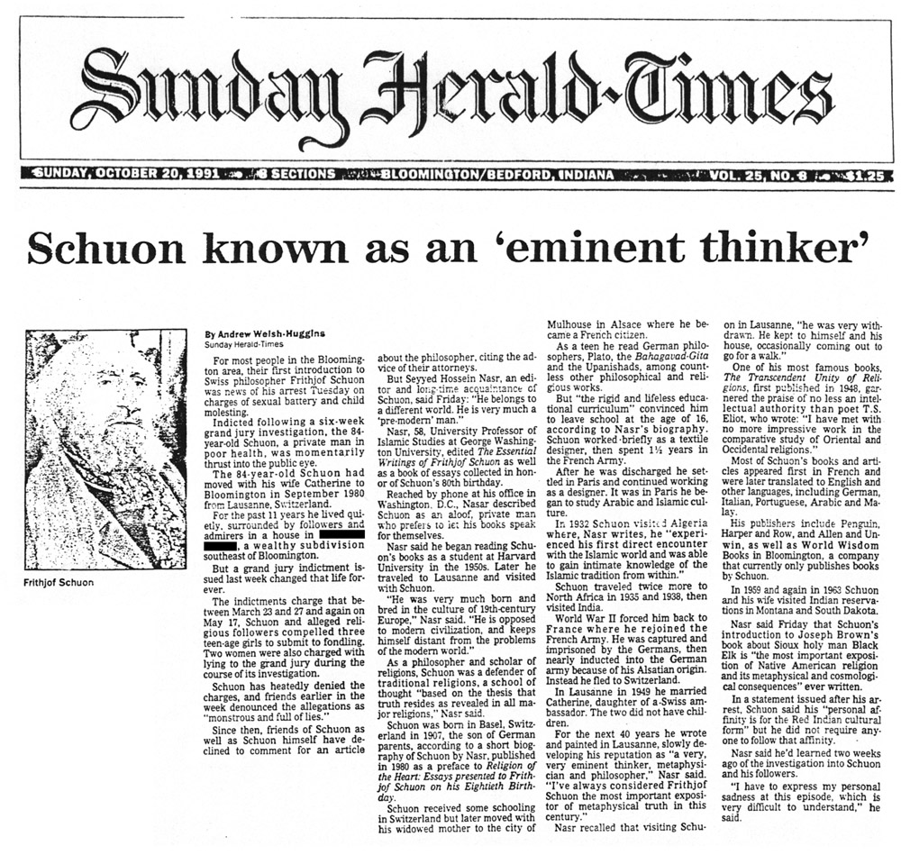 image of the newspaper article 'Schuon known as an 'eminent thinker'