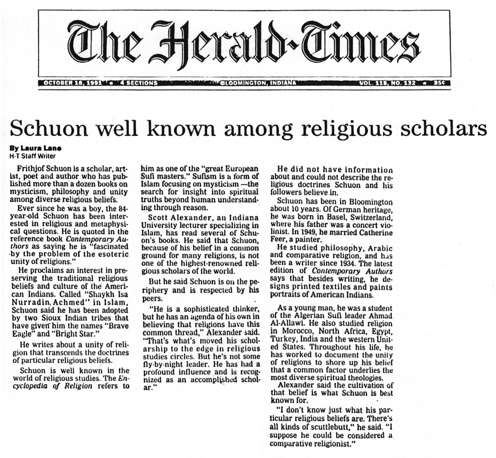 image of the newspaper article 'Schuon well known among religious scholars'
