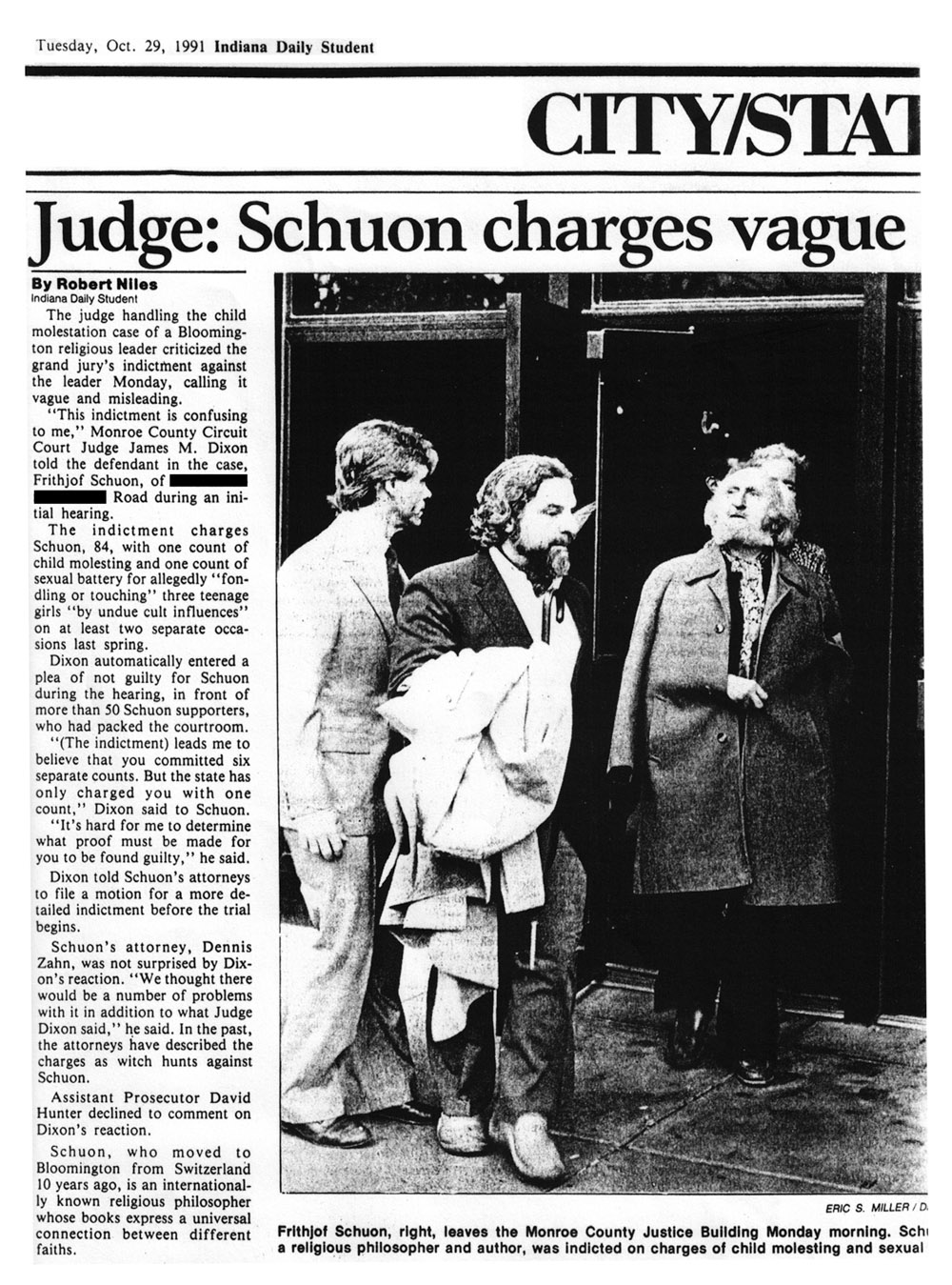 image of the newspaper article 'Judge: Schuon charges vague'