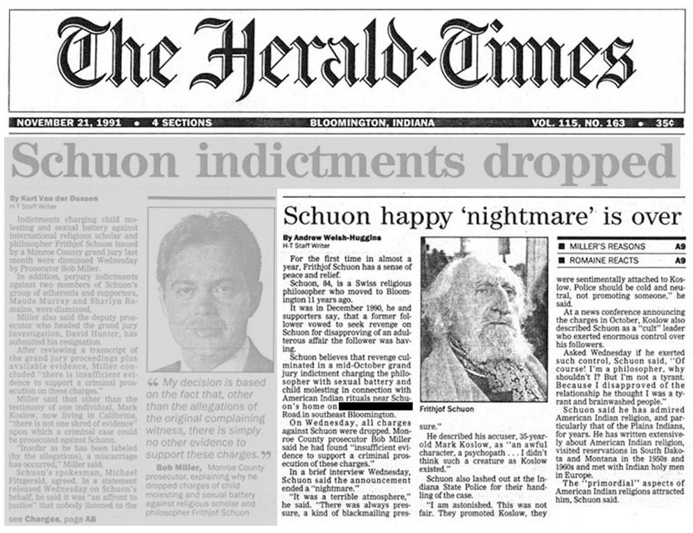image of the newspaper article 'Schuon happy 'nightmare' is over'