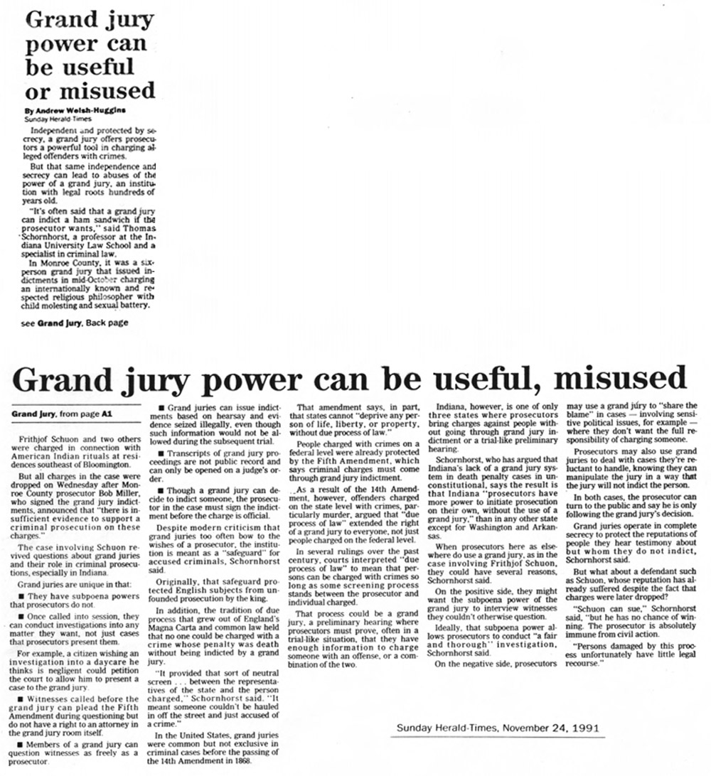 image of the newspaper article 'Grand jury power can be useful or misused'