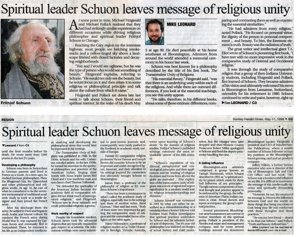 image of the newspaper article 'Spiritual leader Schuon leaves message of religious unity'